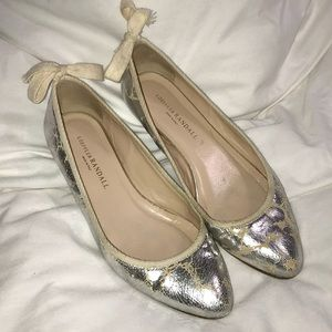 Loeffler Randall Silver Crackle/Distressed flat 8